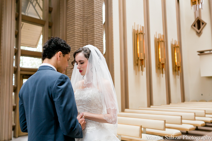 Wedding first look at Marty Leonard Chapel in Fort Worth TX