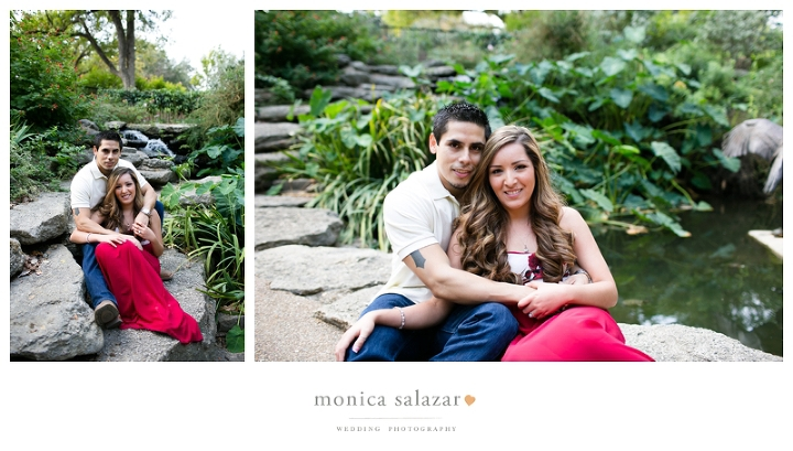 engagement portraits at the Fort Worth Botanical Gardens