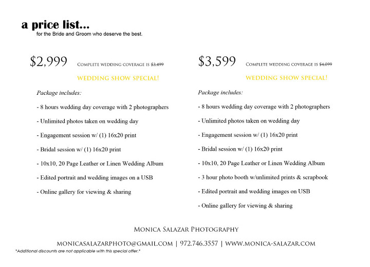 Dallas Fort Worth wedding photography special offers 2015
