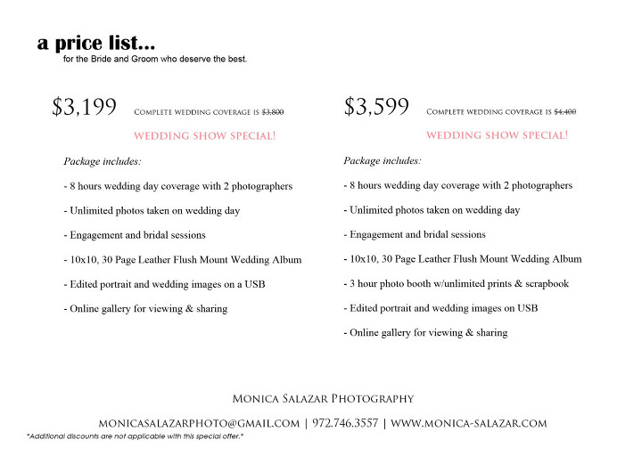 Wedding Photography Special Offers