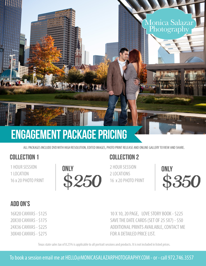 Engagement Session Pricing List Rates Dallas Wedding Photographers